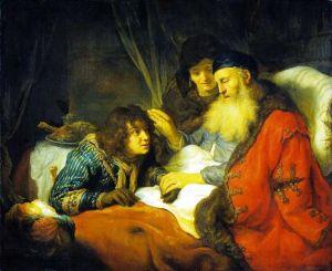 Jacó enganando o pai - Tela de Govert Finck